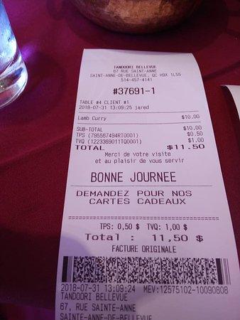 Sainte-Anne-de-Bellevue, Canada: My Bill