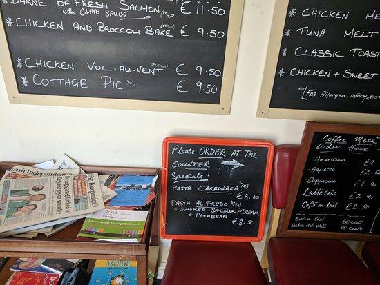 Sallins, Ирландия: Menu on wall
