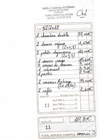 Chissey-les-Macon, France: Damit Sie sich vorstellen was Halbpension, Aperitif, Kaffe und Wein kosten
