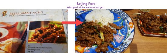 Restaurant Ach'i: beijing pork, what they promote and what you get