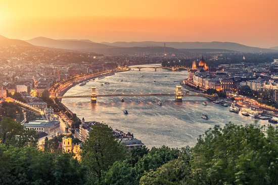 Budapest, Hungary: Grab a cocktail and watch the gorgeous sunset over the Danube.