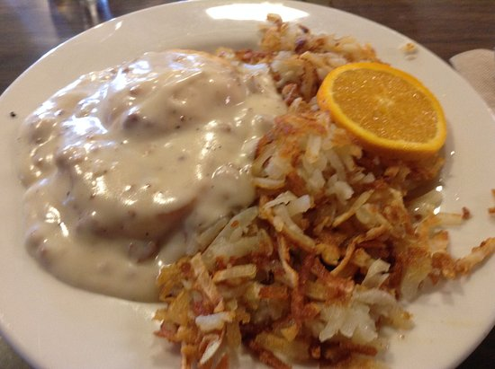 Old Town Cafe: biscuit & gravy with hash browns