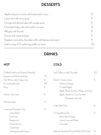 Fowles Deserts and Drinks Menu