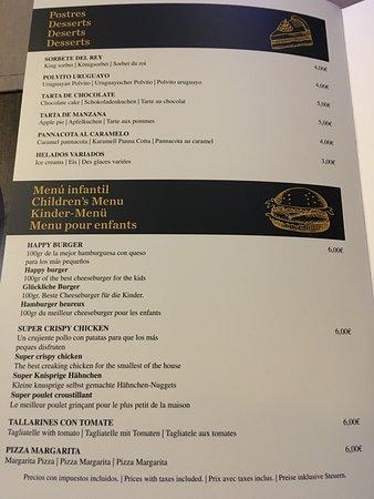 Carta del Restaurante Aloha