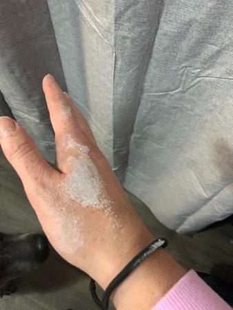 Raymond Terrace, Australia: Curtain disintegrating on my hand!