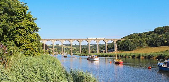 The Tamar Valley Line train as it crosses Calstock Viaduct, just before reaching Calstock statio