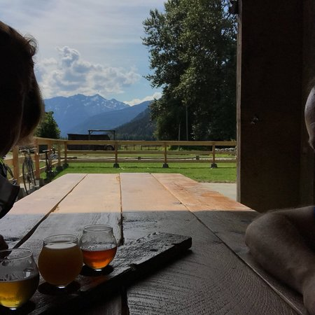 Pemberton, Canada: View of the mountains from inside the tasting room.