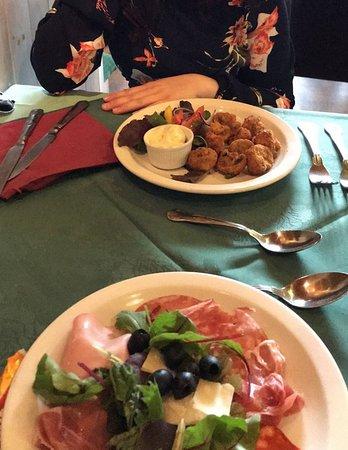 Valentino Ristorante & Pizzeria: Starters; Funghi Valentino, Antipasto Valentino
