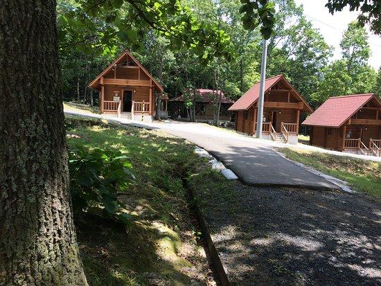 Kagamino-cho, Япония: キャンプサイトからロッジを見る