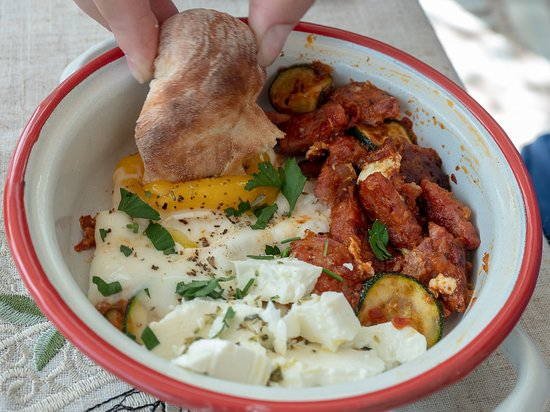 Eggs from the coop, sausage and zuchini from our garden...