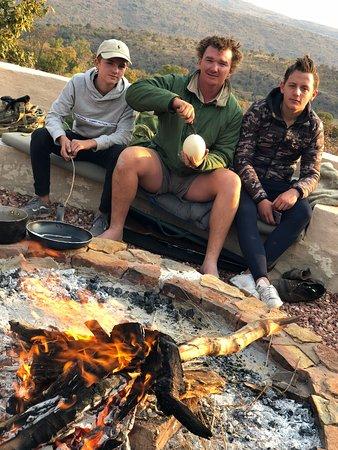 Welgevonden Game Reserve, South Africa: Ostrich egg preparation at Mhondoro
