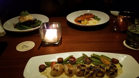 Seasons 52: Dinner (Scallops, Salmon and Sea Bass)