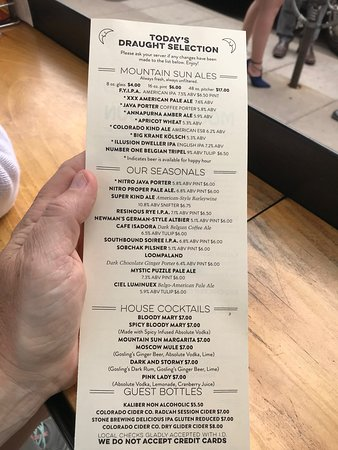 Mountain Sun Pub and Brewery: Beer Menu