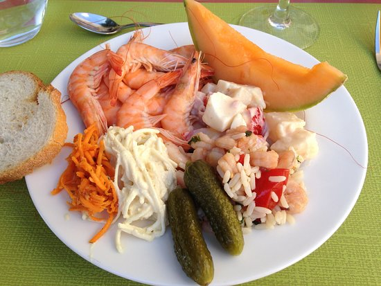 Caden, France: A selection of starters from the buffet