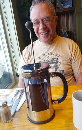 West Danville, VT: Frank and I had little experience with French Press coffee. Frank's shirt says I Like Machines--