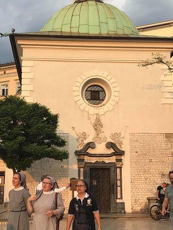 Quaint little church in Krakow main square