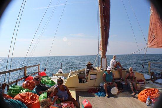 Sailing Montauku0027s Catamaran Mon Tiki: Mon Tiki Has A Bunch Of Comfy Bean  Bag Chairs