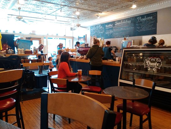 David's Delicatessen: view of counter and seating area