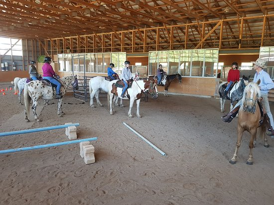 Grey County, Canadá: Pre-ride lesson before heading out on the trail, so everyone is comfortable