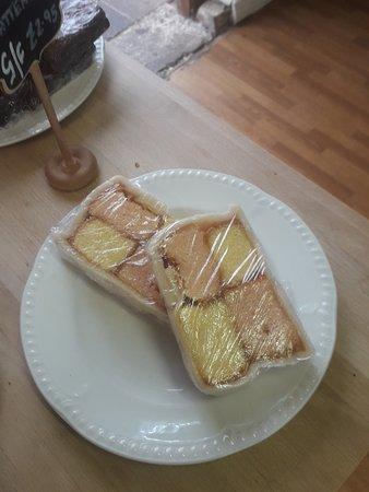 Freshly made battenberg cake