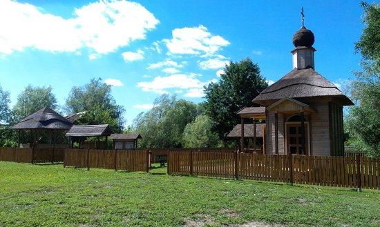 Vilkovo, Ucrânia: часовня на островной стоянке Зеленая гавань