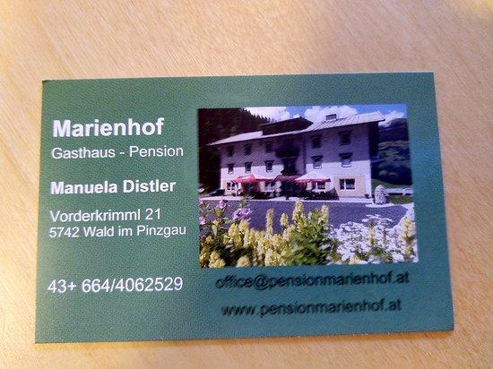 Wald im Pinzgau, Österreich: Marienhof Gasthaus Pension