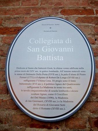 Castel San Giovanni, Italie : Utili note descrittive