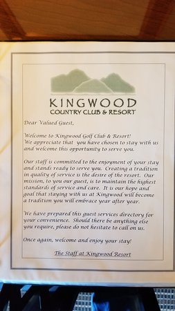 Kingwood Country Club & Resort: Pages from the room directory