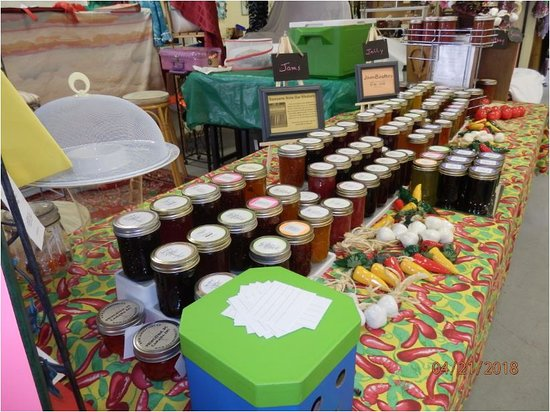 JamBusters! sells jam, jelly, salsa in the Yellow Room (Oliver Indoor Flea Market).