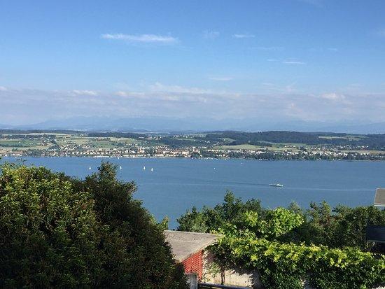 Lugnorre, Switzerland: Vue depuis le site de l'hôtel sur le lac de Morat (Murtensee)