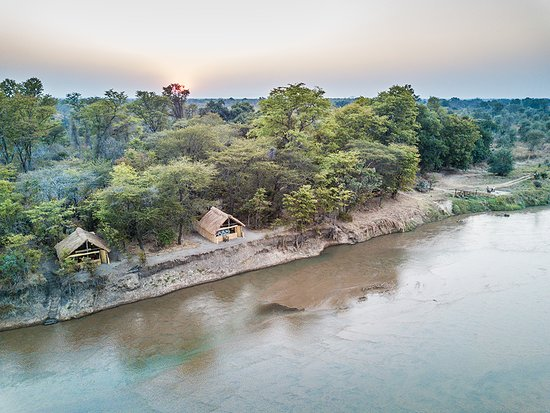 North Luangwa National Park, Zambia: Mwaleshi Camp aerial view