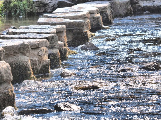 Thorpe, UK: stepping stones easy to cross as river low due to hot summer.