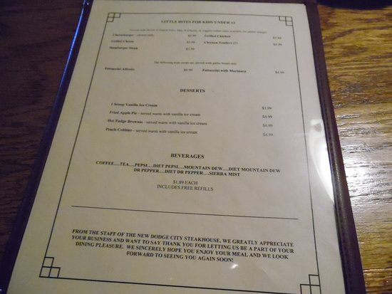 Table Menu Picture Of Dodge City Steak House Wilkesboro Tripadvisor