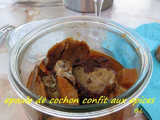 Esvres, France: epaule de cochon confit aux epices