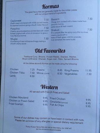 Kilsyth, UK: Kormas, Old Favourites and Western dishes