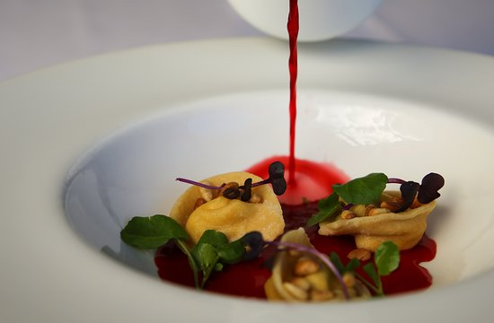 Edgewater Restaurant: Goats' curd & raisin tortellini, with beetroot consomme