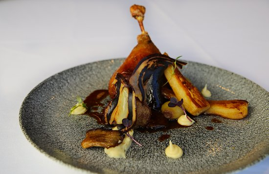 Edgewater Restaurant: Confit duck with smoked parsnip puree, baby onions, pancetta, oyster mushrooms