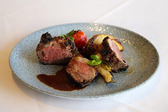 Edgewater Restaurant: Horopito rubbed lamb rump, salt baked celeriac, green olive tapanade, fennel