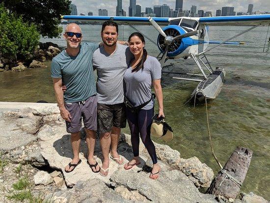 Seaplane Tour of Miami: Happy to discover his birthday surprise!