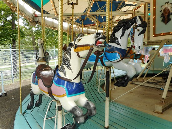 Alexis and Tasunke, horses on the carousel at Krape Park in Freeport IL.
