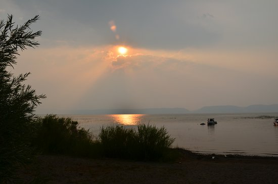 Fish Haven, Idaho: Despite the smoke from the Yosemite fires, we had a lovely view Sunday morning.