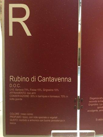 Gabiano, Italy: Caratteristiche Rubino di Cantavenna