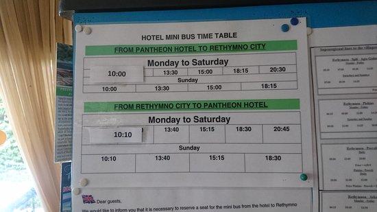 Atsipopoulo, Greece: Free minibus times