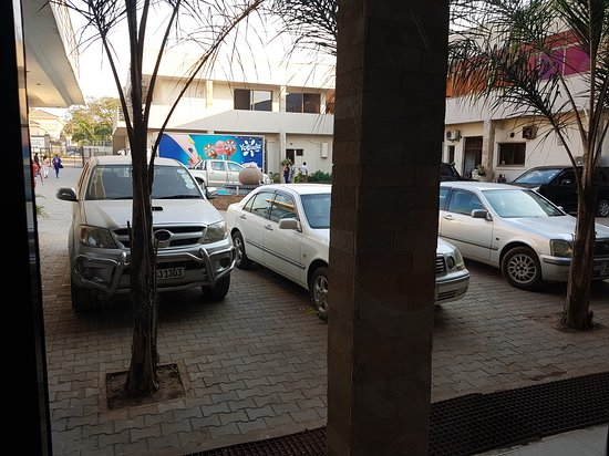 Kitwe, Zambia: View into parking lot from Room 1