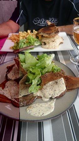 Caudebec-en-Caux, France: Breiz burger, et crêpe guėmėnée très copieuse