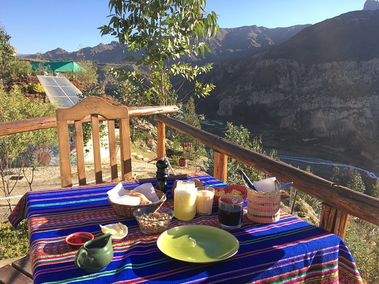 bolivian breakfast with lovely views!