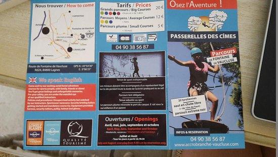 Lagnes, Frankrijk: Prospectus Passerelle des cimes 2018_2