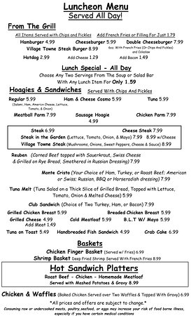 Mount Carmel, PA: Lunch Menu