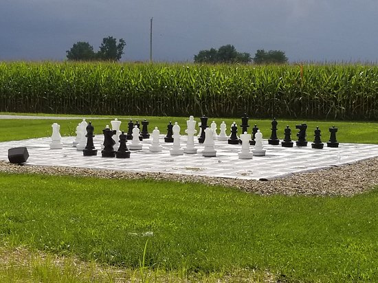 Bucyrus, OH: Giant chess set - fun touch for relaxing
