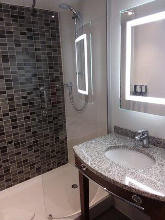 Clyst Honiton, UK: Toelette pulitissima e con dispenser di shower e shampoo